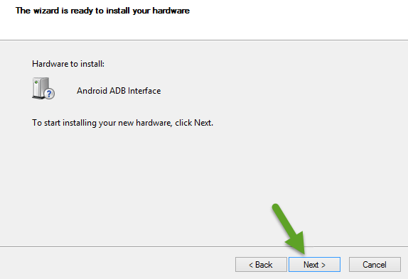 Instale a interface Android ADB
