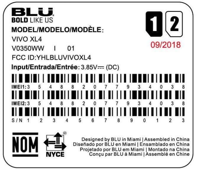 BLU Vivo XL4 FCC
