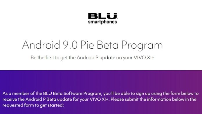 BLU Vivo XI Plus Android Pie update