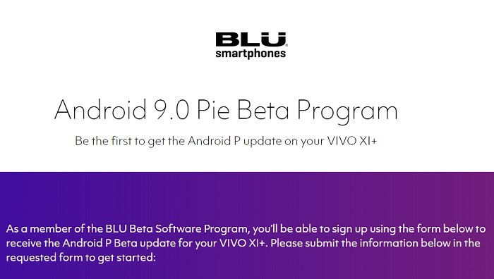 Signup for Android Pie update on your VIVO XI+ (Beta Program)